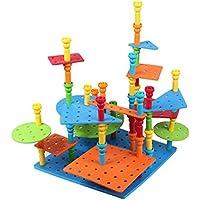 Tivolii 子供用パズルおもちゃ 小型プラスチックプラグアセンブリ ビッグネイルプレート引っ張りネイル組み立てペグ組み立てキット