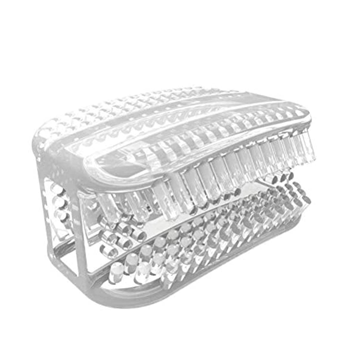 下にくマーチャンダイザーSUPVOX シリコン歯ブラシポータブル怠惰な人360°全周咀嚼歯ブラシ歯のクリーニングツール手動歯ブラシ(透明ホワイト)