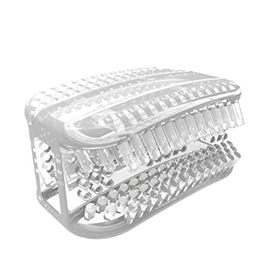 違う理容室交換可能SUPVOX シリコン歯ブラシポータブル怠惰な人360°全周咀嚼歯ブラシ歯のクリーニングツール手動歯ブラシ(透明ホワイト)
