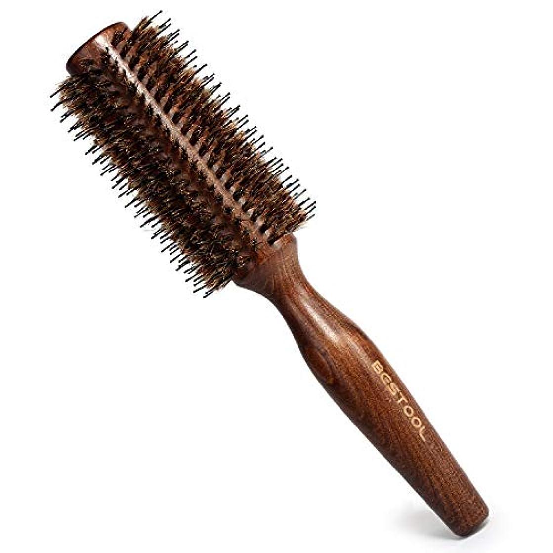簡略化する寛解何故なの豚毛ヘアブラシ ロールブラシ Bestool ケヤキ製 髪をつやつやする ファッションヘアブラシ 新型タイプ 高級美容ヘアブラシ (M, ケヤキ)