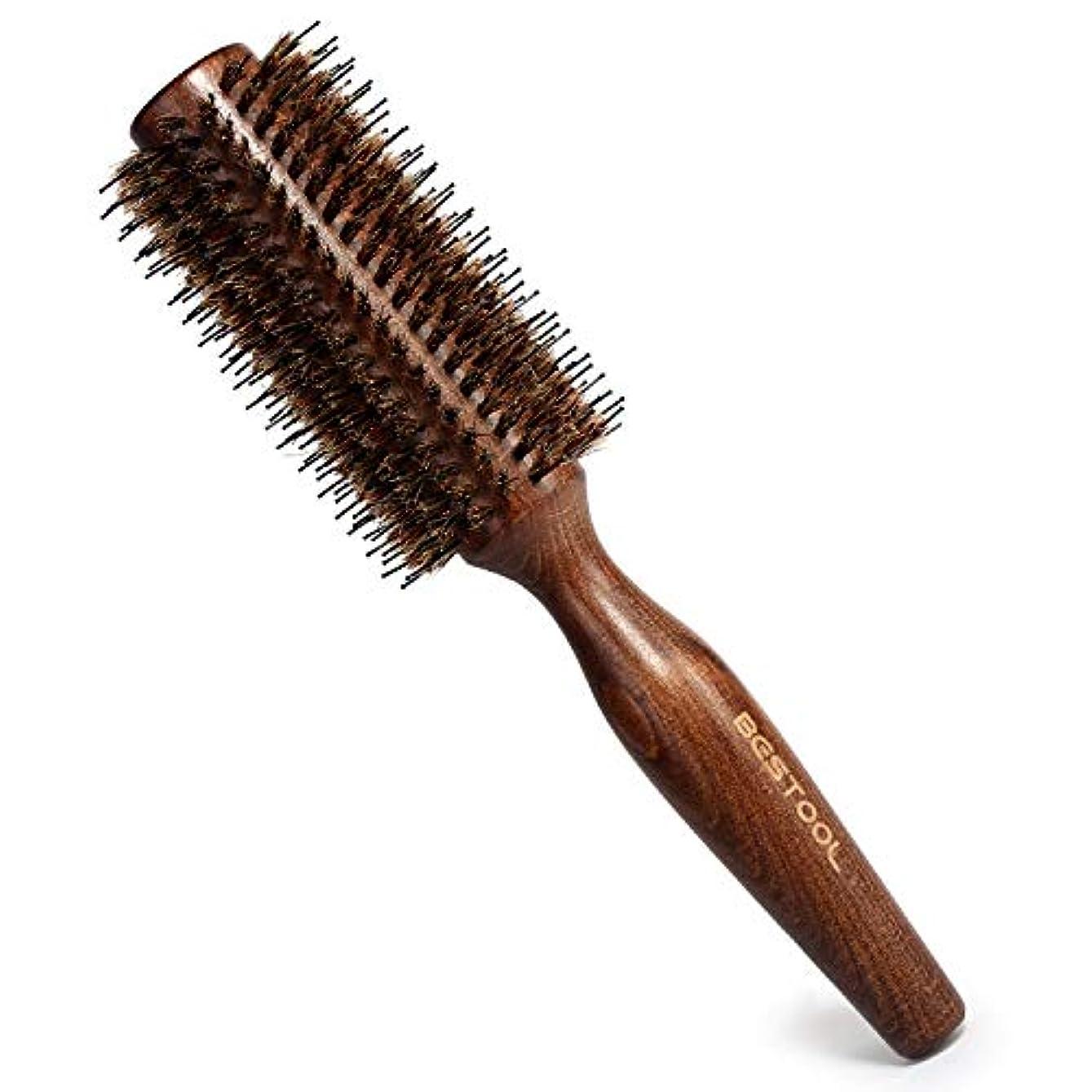 可動漁師参照する豚毛ヘアブラシ ロールブラシ Bestool ケヤキ製 髪をつやつやする ファッションヘアブラシ 新型タイプ 高級美容ヘアブラシ (M, ケヤキ)