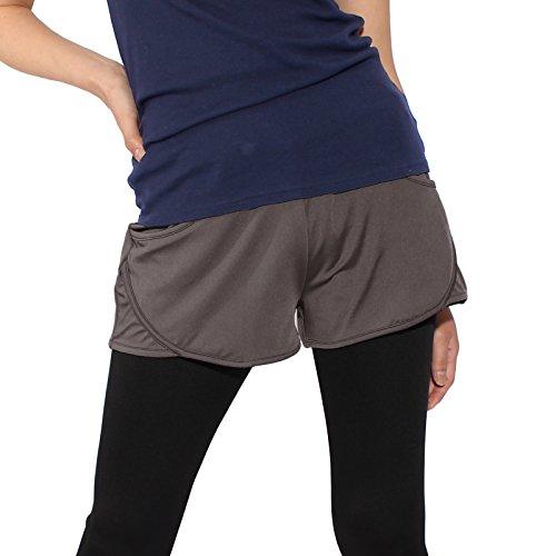 ランニングウェア レディース 吸汗速乾 ランニングショートパンツ グレーブラウン ランニング フィットネス パネットワン pane(t)one