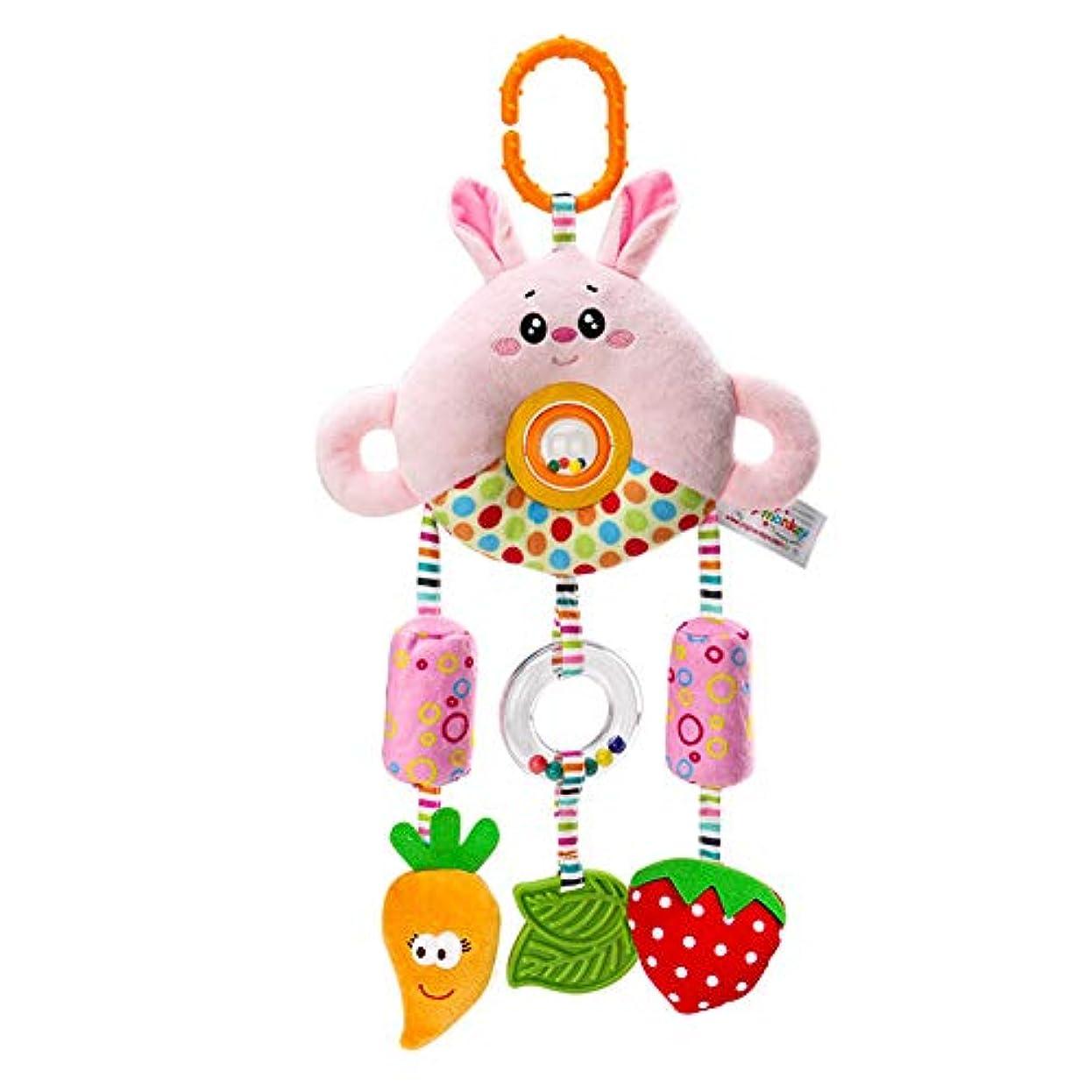 たぶん知覚するそれによってShenghe ベビーベッドベビーカーぶら下げウィンドベル人形ガラガラペンダント漫画動物ぬいぐるみ新生児用 ウサギ