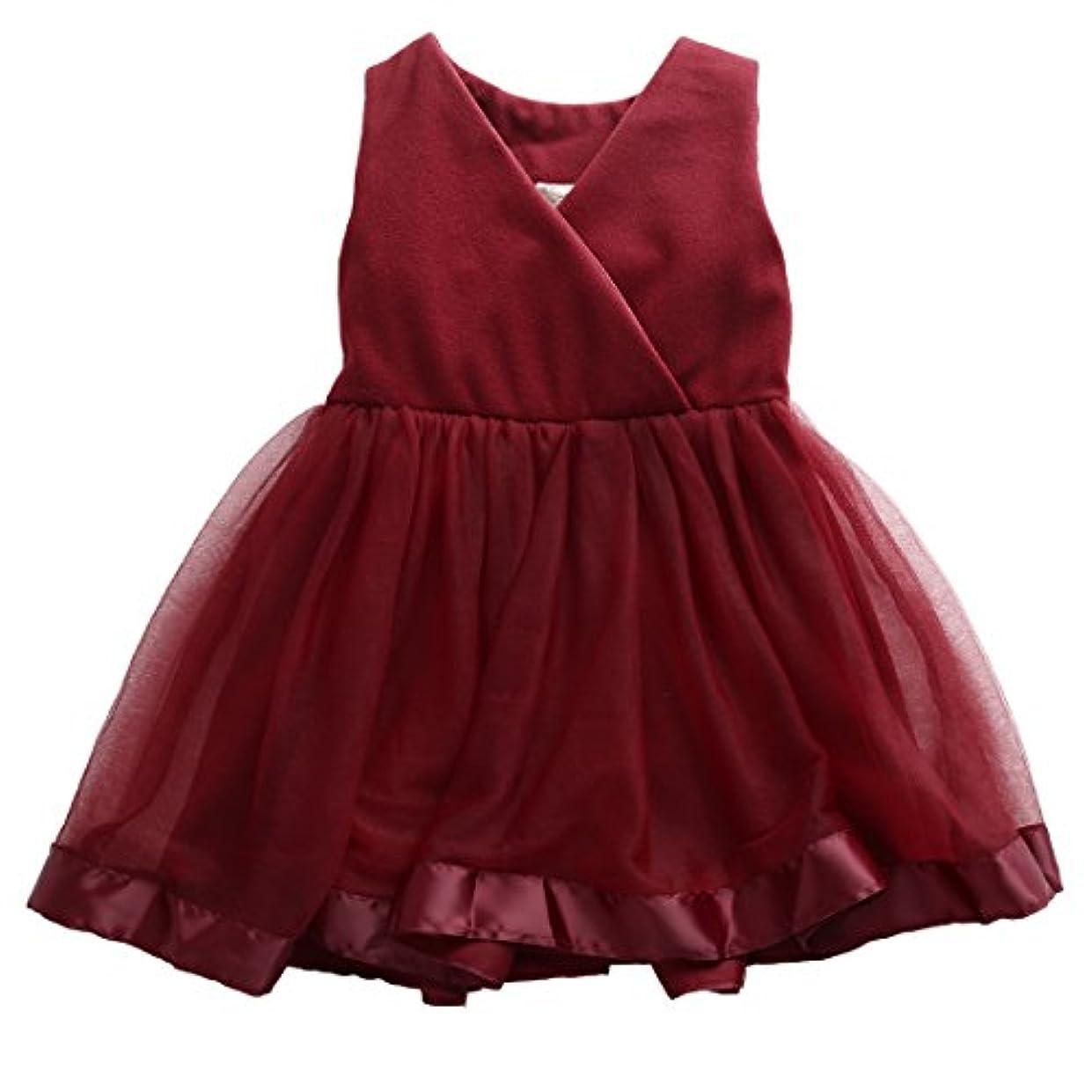 収容する言い聞かせるテザー女の赤ちゃんプリンセスチュールワンピースVネックノースリーブイブニングドレスちょう結び誕生日パーティーウェディングブライドメイドコスチューム (13#, 5-6T)