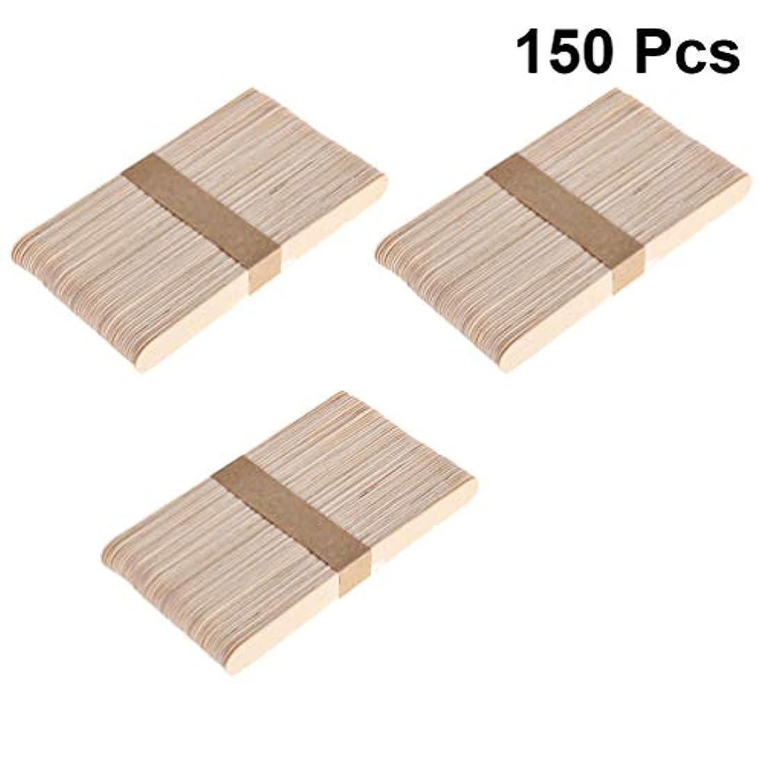 ロールジム機構Healifty 天然木材クラフトスティックアイスキャンディーロリポップアイスクリームスティックグレートポップトリートスティック用diyクラフト150ピース