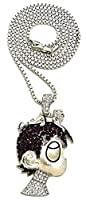 [GWOOD] [GWOOD ペンダントネックレス L Uzi Small Cartoon Pendant Necklace(Gold Color with Blue Stones with Cuban Chain)] (並行輸入品)
