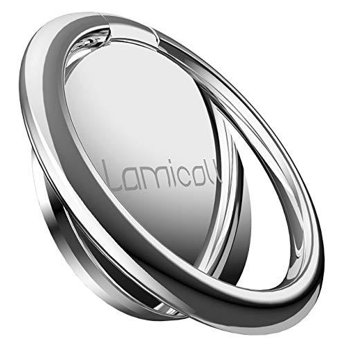 スマホリング, リングホルダー, Lomicall 携帯リング :指輪型 薄 ホールドリングスタンド, 4㎜ 薄い フィンガーリング, 薄型 アイホン 指リング, 落下防止 すまほ りんぐ, 角度調整可能, 360度回転式, ケイタイ スマフォスタンド機能, 丸型, 取り外し可能, 車載マグネット式磁石ホルダー対応, smartphone finger ring holder stand, iPhone XS XS Max XR X 8 8plus 7 7plus 6 6s 6plus 5 5s, Samsung S3 S4 S5 S6 S7, Galaxy S7 S6, Note 6 5, LG, Sony対応