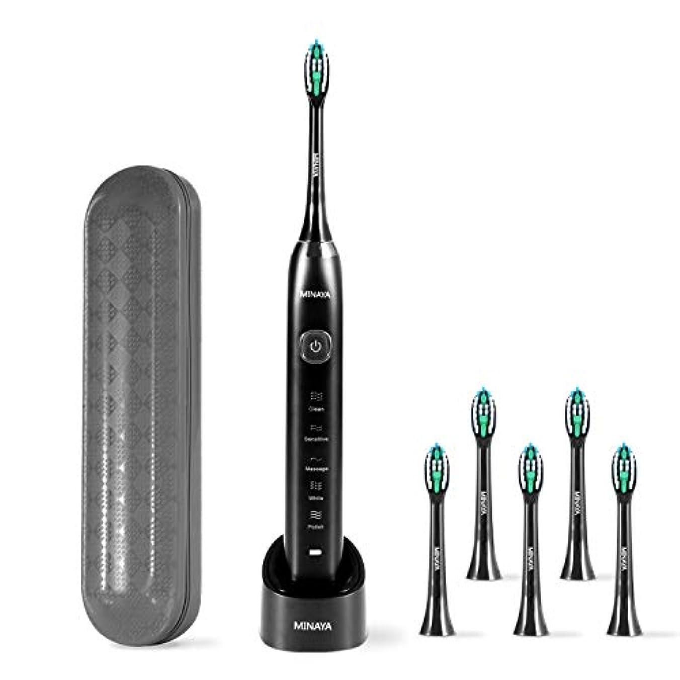 なめらかなやりがいのある拍手する電動歯ブラシ 音波振動式 IPX7級防水 USB充電式 オートタイマー機能搭載 ブラッシングモード5つ MINAYA 収納ケース 旅行用便利 替えブラシ5本 ブラック