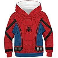 Leezeshaw Kid's 3D Spider-Man Printed Hooded Sweatshirt Marvel Superhero Patterned Pullover Hoodie with Kangaroo Pocket XS-L