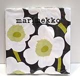 marimekko UNIKKO ペーパーナプキン 33cm /ブラック×ホワイト×グリーン 95 【52607】マリメッコ ウニッコ