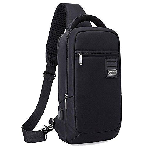Luuhann ボディバッグ メンズ USBポート搭載防水ワンショルダーバッグ 大容量9.7インチipad収納可能 (黒Lサイズ)