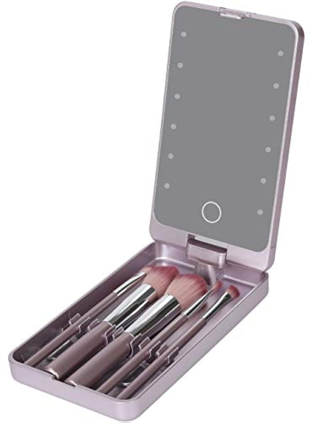 やめるヒップ引き付けるLooife 化粧鏡 led ミラー 5化粧ブラシ付き ライト付き女優ミラー 携帯型 (紫の)