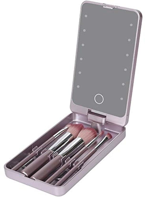 呼び出す近々もっとLooife 化粧鏡 led ミラー 5化粧ブラシ付き ライト付き女優ミラー 携帯型 (紫の)