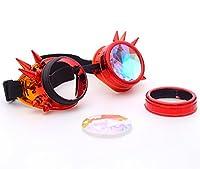 Focussexy スチームパンク 万華鏡 レイブゴーグル スパイクガラスクリスタルレンズ付き FS@MG006-Z-CN-WLJ4