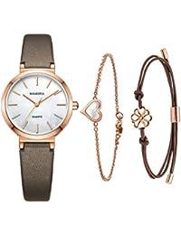 エレガンスレディースセット女性ブレスレットクォーツカジュアル腕時計-MAMONA バラの金のステンレスケースと本革ベルト 3876LRGTS