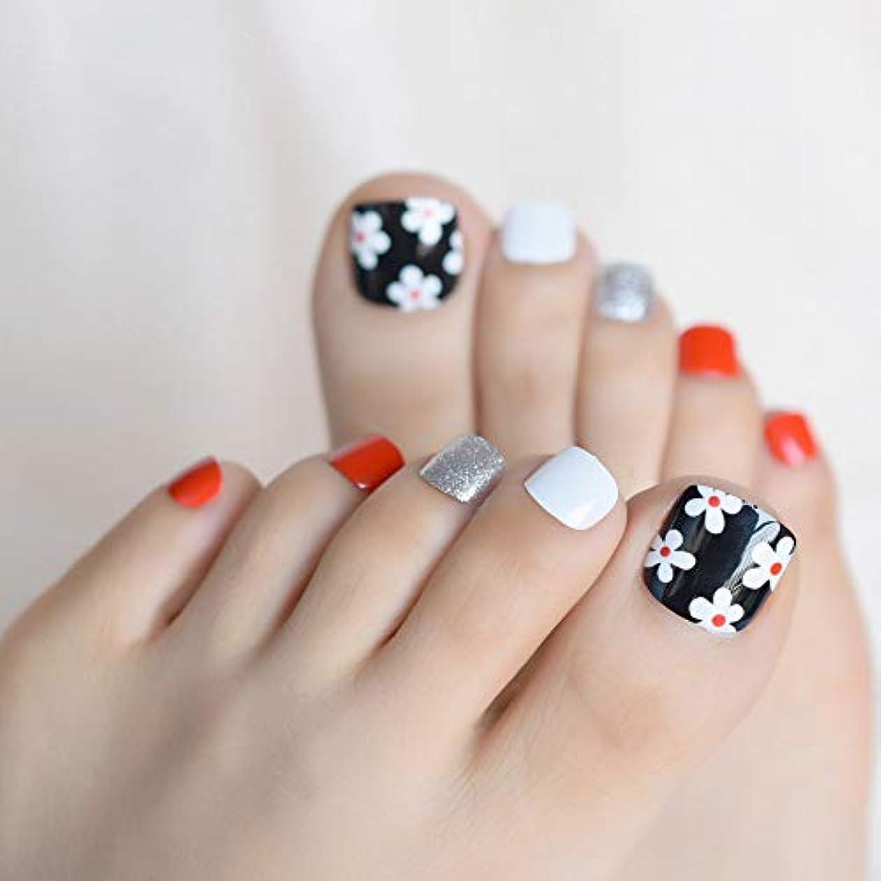 セッションルーキー土曜日XUTXZKA 白い花偽偽足の爪のステッカーシルバーグリッターホワイトブラックレッドトゥネイルのヒントを着用