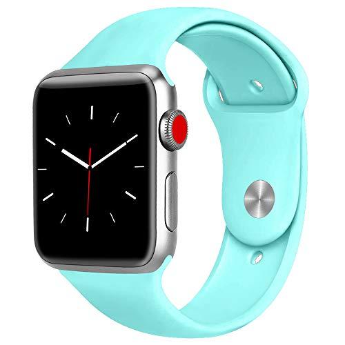ATUP コンパチブル Apple Watch バンド 42mm 38mm 44mm 40mm、プレミアムソフトシリコン交換リストバンドiWatch Series4/3/2/1に対応、iWatchは含まれていません (38/40 M/L, ライトブルー)