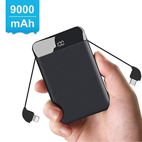 モバイルバッテリー ケーブル内蔵 軽量 小型 9000mAh iPhone&Android&Type-C各種対応 3台同時充電 急速充電 携帯充電器 薄型 小型 大容量 ミニ急速充電可能【PSE認証済】…