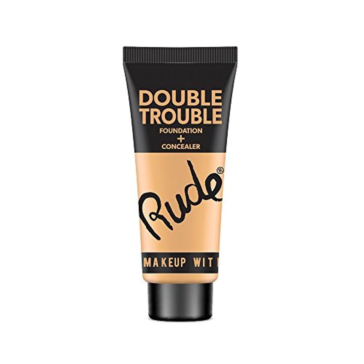 クックデコードする政治的RUDE Double Trouble Foundation + Concealer - Ivory (並行輸入品)