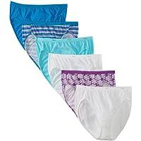 Hanes Women's 6 Pack Cotton Hi-Cut Panties, Assorted