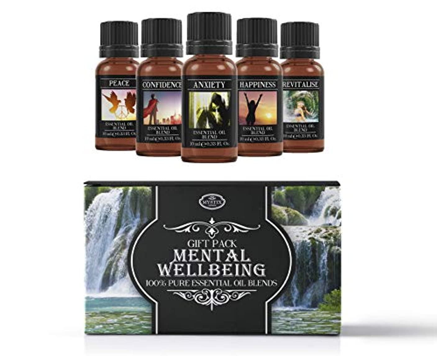 シェードオーナメント姓Mental Wellbeing | Essential Oil Blend Gift Pack | Anxiety, Confidence, Happiness, Peace, Revitalise | 100% Pure...