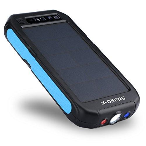 X-DNENG ソーラーチャージャー 12000mAh 大容量 モバイルバッテリー 2USB出力ポート 防水 ソーラー充電器 電量表示 iPhone7 iPad Android Xperia Galaxyなどに対応 地震/災害時/ 旅行/出張に (ブルー)
