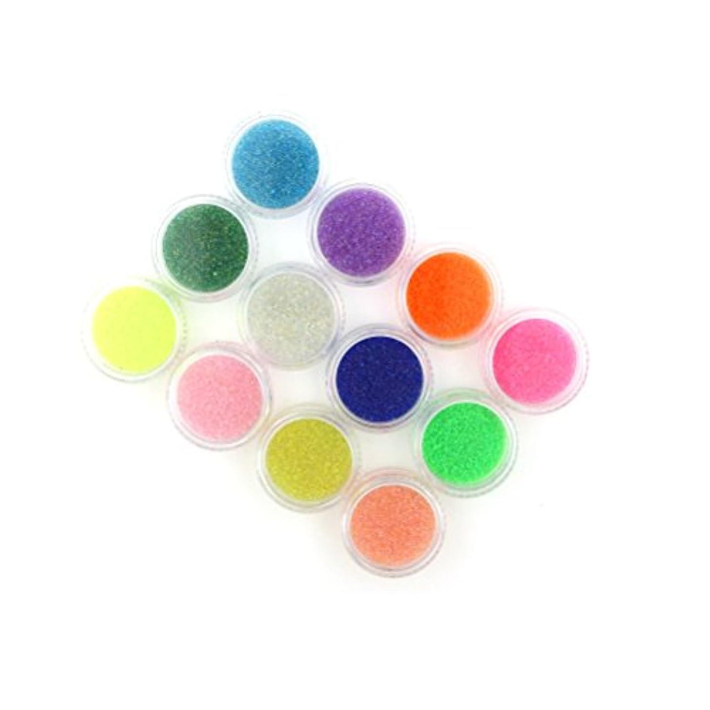 幹疾患些細なMakeupAcc ネイル用ガラスビーズ 12色セット 蛍光 流れるカラー 数の子のようなネイルアクセサリー [並行輸入品]
