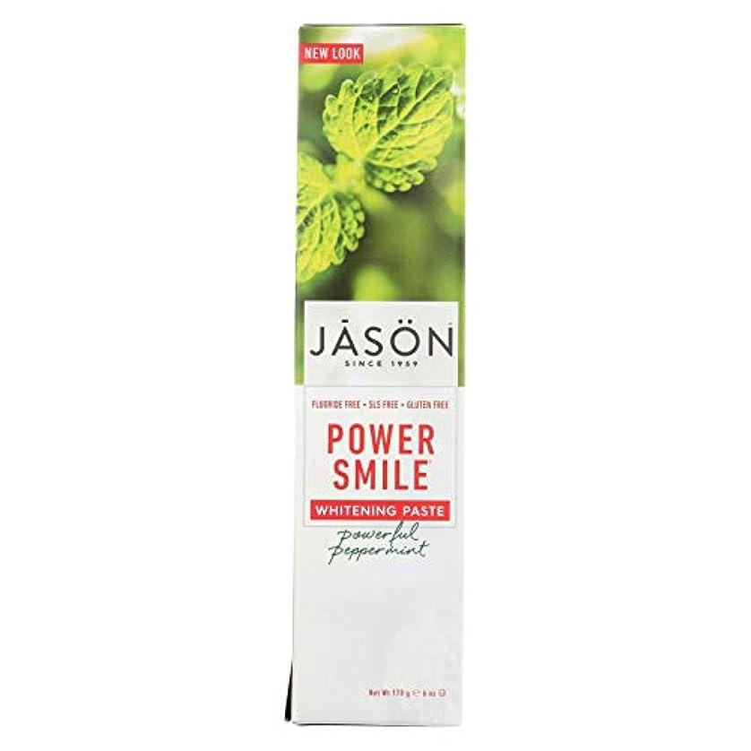 エンドウ軽蔑する使用法Jason Natural, PowerSmile, Antiplaque & Whitening Paste, Powerful Peppermint, 6 oz (170 g)