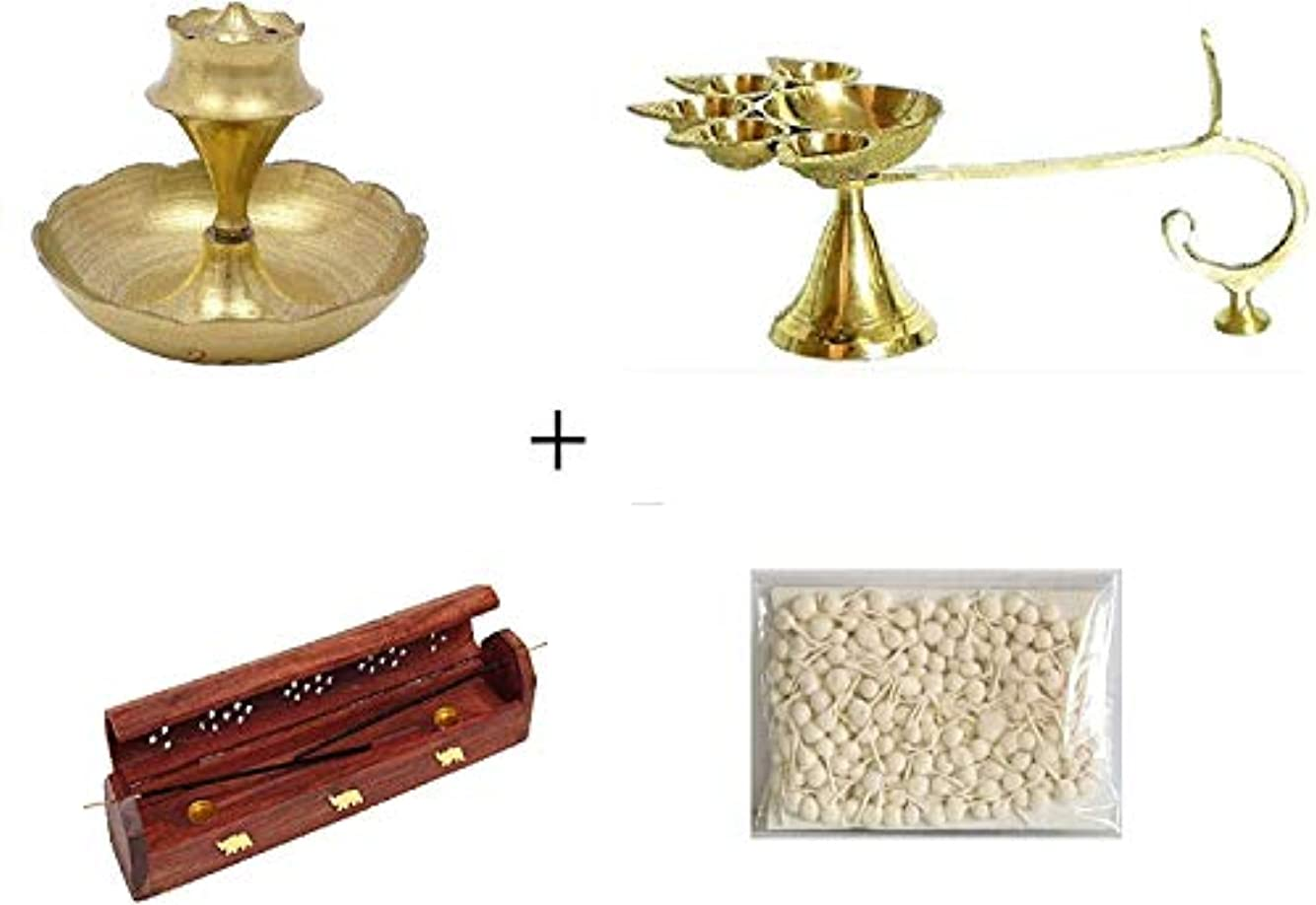 見捨てられた伝える目指すCombo of Brass Panchaarti Diya,Brass Incense Stick Holder, Wooden Incense Stick Storage With Cotton Round Wick...