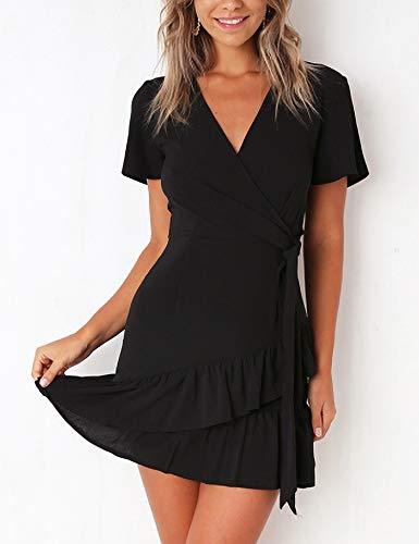 Relipop Summer Women Short Sleeve Print Dress V Neck Casual Short Dresses (XX-Large, T10)
