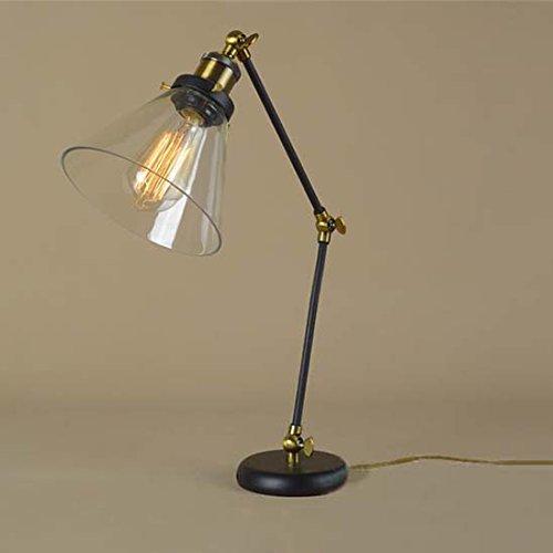 Susuo 北欧風 卓上ライト レトロ風 デスク ガラス スタンドライト LED対応 照明 おしゃれ テーブルランプ アーム式 調節可能 読書/寝室/仕事/等に最適 電球なし ss422892 ゴルード ブラック