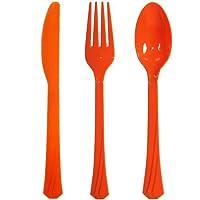 Hanna K署名コレクション24パックソリッドプラスチックカトラリーコンボ、オレンジ
