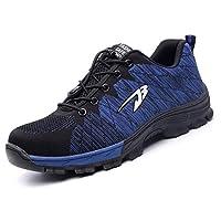 [Aoop] 作業靴 メンズ レディース 安全靴 スニーカー 鋼先芯 鋼製ミッドソール 登山靴 防滑 通気 耐磨耗 衝撃吸収 四季通用 S536/ブルー 25.0cm