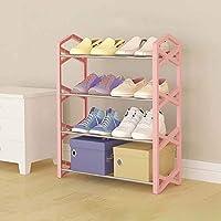 シェルフ_4レイヤーシューズラック、シンプルな収納靴キャビネット、12ペアの靴(ブラック、ホワイト、ピンク)を収納しやすい