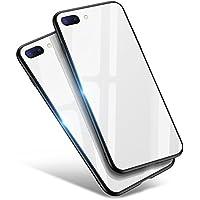 iPhone8 Plus ケース / iPhone7 Plus ケース, Aunote TPUと強化ガラスがジャストフィット 強化ガラスケース レンズ保護 耐衝撃 極薄 耐久 ハードケース Qi充電対応 アイフォン8プラス ケース / アイフォン7プラス ケース(iPhone8 プラス / iPhone7 プラス 用 ホワイト)