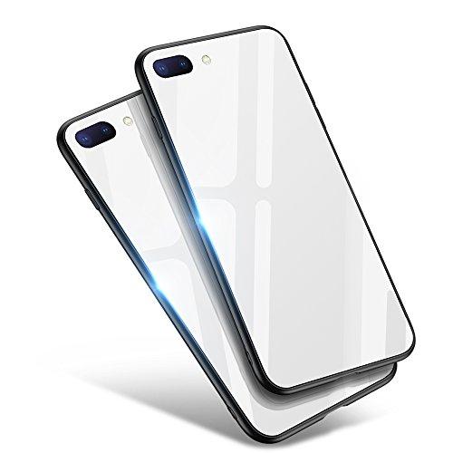 iPhone8 Plus ケース/iPhone7 Plus ケース, Aunote TPUと強化ガラスがジャストフィット 強化ガラスケース レンズ保護 耐衝撃 極薄 耐久 ハードケース Qi充電対応 アイフォン8プラス ケース/アイフォン7プラス ケース(iPhone8 プラス/iPhone7 プラス 用 ホワイト)