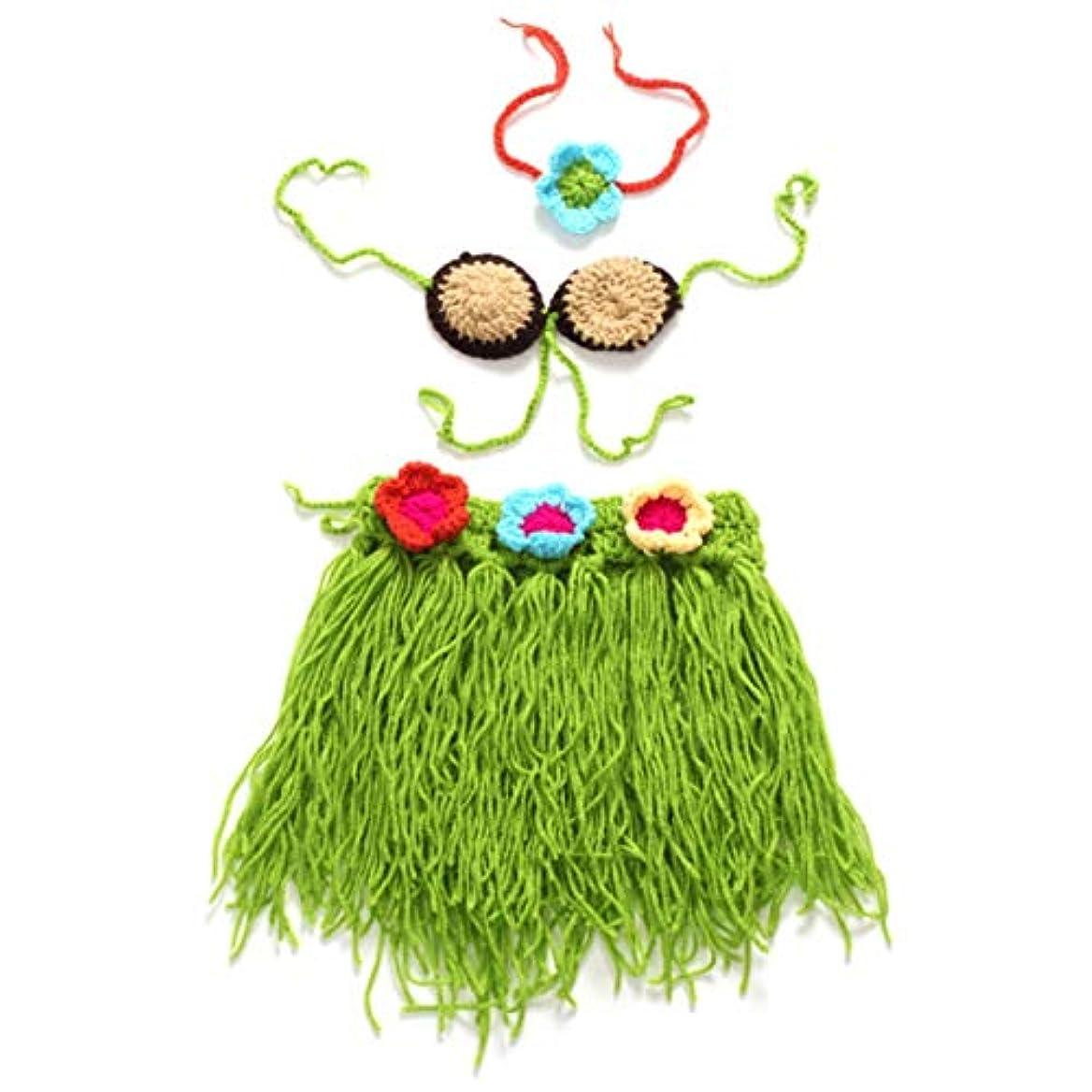 通り良さ共同選択生まれたばかりの赤ちゃんの写真の小道具かぎ針編みウールの衣装カチューシャ帽子セット男の子のための女の子の写真衣装コスチュームアクセサリー-グリーン