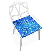 座布団 低反発 こころ ブルー ビロード 椅子用 オフィス 車 洗える 40x40 かわいい おしゃれ ファスナー ふわふわ fohoo 学校