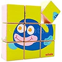 6 in 1木製キューブ海洋動物ジグソーパズルKids pre-school Learning Time Toys