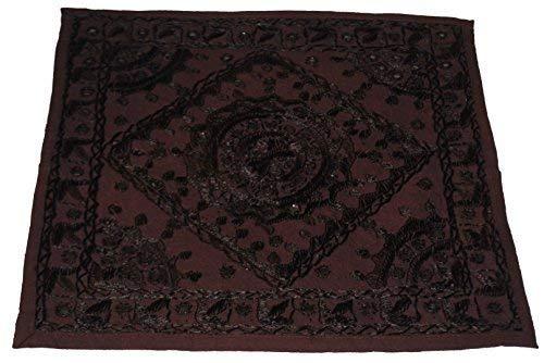 フェアトレードRajesthaniインド刺繍クッションカバー 43x43 ブラウン
