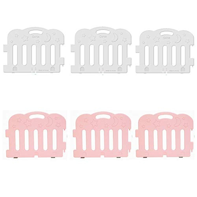 (Caraz) カラズ ジョイントベビーサークル 6枚セット(ワンカラー3枚+ワンカラー3枚)〔並行輸入品〕 (ホワイト3P+ピンク3P)