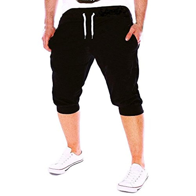 ショートパンツ メンズ Dafanet ハーフパンツ メンズ スポーツ 七分丈 大きいサイズ 短パン ハワイスタイル ゴムウェスト スウェット スイムショーツ スポーツ ビーチパンツ サーフパンツ