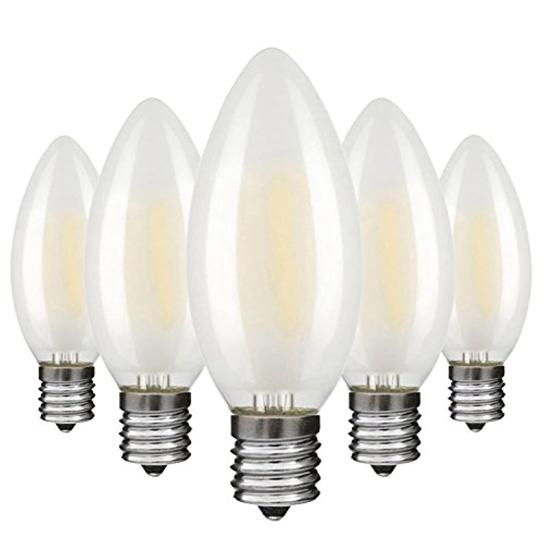LANSONTECH LED電球 フィラメント 4W E17口金 電球色 2700K 40W形相当 C35 ledシャンデリア電球 磨りガラス 全方向タイプ 非調光 蝋燭水雷型 PSE 5個入