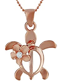 [ハワイアン シルバー ジュエリー] Hawaiian Silver Jewelry ホヌ (亀) × プルメリア ネックレス ジルコニア付き ピンクゴールド トーン シルバー925 [インポート]