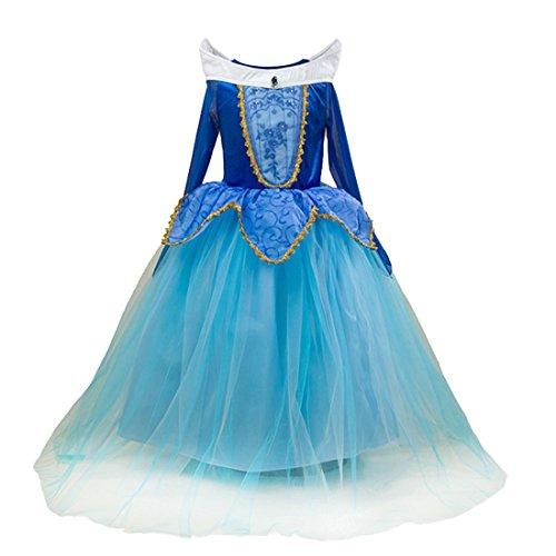 83f7fe2be7142 オーロラ姫 ドレス 子供 眠れる森の美女 衣装 プリンセス ピンクドレス ハロウィーン 仮装 コスプレ (ブルー
