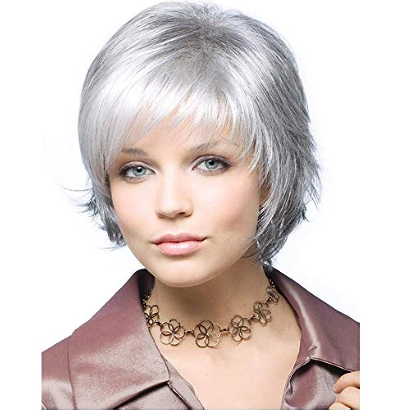 バットオーバードロー飢えたYOUQIU 女性耐熱かつらのためにショートストレートヘアウィッグの合成かつら (色 : グレー)