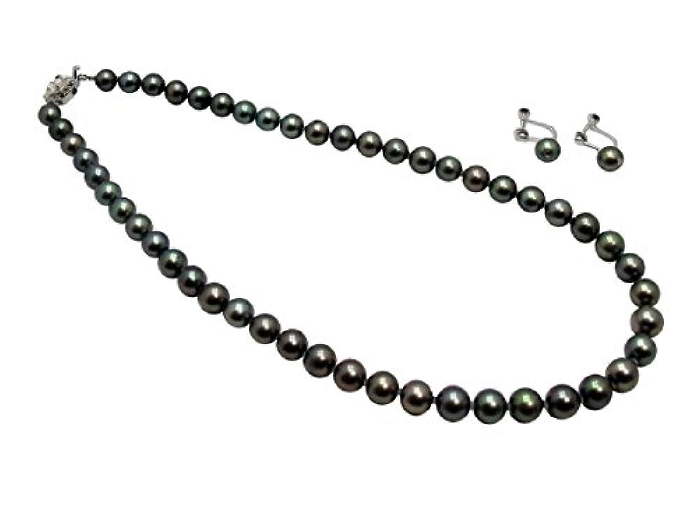 アコヤ本真珠ネックレスイヤリングセット/7.5-8.0mm/ブラックグリーン
