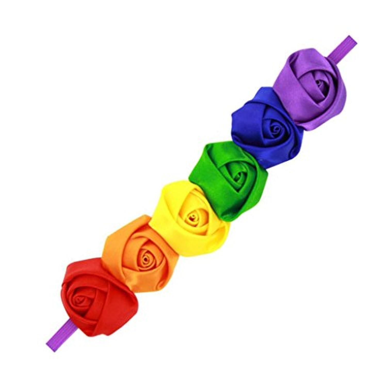 【ノーブランド 品】女の子 虹 バラ柄 かわいい ヘッドバンド ヘアバンド パーティー 写真道具