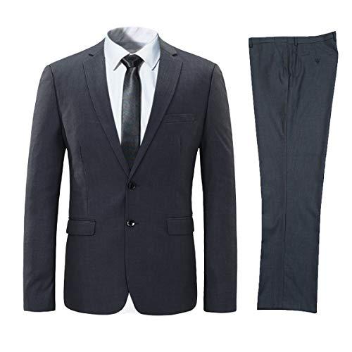 ANGELCITY メンズ スーツ ビジネススーツ 2点セット スリム 無地 2つボタン 上下セットス ーツ スタイリッ...