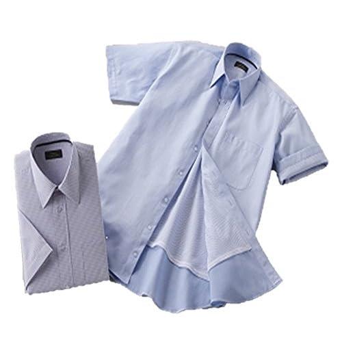 (フランコ コレツィオーニ)Franco Collezioni 裏メッシュ半袖ドレスシャツ2枚組(ブルー系) 50277 (L)